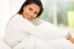 Woman sitting bed Stock Photo