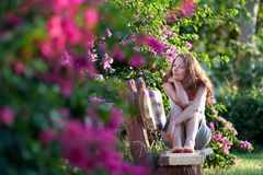 Woman Sitting on the bench stock image