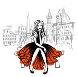 Woman sitting on bench. Artistic hand drawn sketch of woman sitting on bench in Rome, Italy Royalty Free Stock Photos
