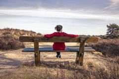 Woman sitting on a bench in nature Stock Images