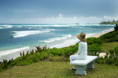 A Woman Sitting on a Bench Overlooking the Sea Royalty Free Stock Image