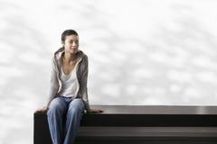 Woman Sitting On Bench Stock Photos