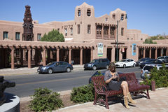 Woman sitting on the bench in Santa Fe Stock Photos