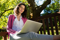 Woman sitting on bench and using laptop in garden on a sunny day. Smiling woman sitting on bench and using laptop in garden on a sunny day Stock Photo