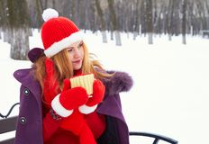 Woman sitting on bench in winter snow park and drinking hot coffee or tea Stock Photos
