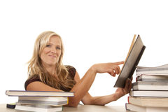 Woman sitting with books point look Royalty Free Stock Photos