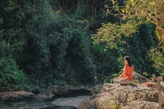 Woman Sitting on Brown Stone Near Green Leaf Trees at Daytime royalty free stock images