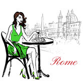 Woman sitting in cafe Royalty Free Stock Photo