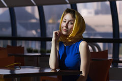 Woman sitting cafe Royalty Free Stock Image