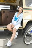 Woman Sitting In Campervan Royalty Free Stock Photography