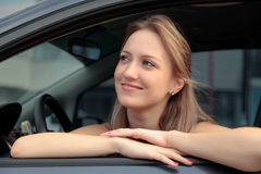 Woman Sitting In Car Stock Photography