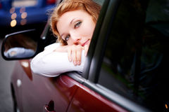 Woman Sitting In Car Royalty Free Stock Images