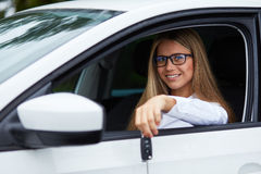 Woman sitting in the car Stock Photography