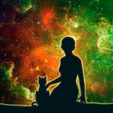 Silhouettes of woman and cat. The woman sitting with cat. Elements of this image furnished by NASA. Deep space filled with stars, nebula and galaxy. Cutout Stock Photos