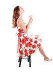 Woman sitting on chair. Royalty Free Stock Photo