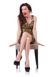 Woman sitting on the chair isolated Royalty Free Stock Image