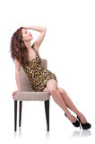 Woman sitting on the chair isolated Royalty Free Stock Photos