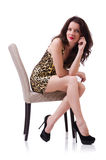Woman sitting on the chair isolated Stock Photo
