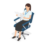 Woman Sitting in Chair and Looking on Two Paper Royalty Free Stock Photography