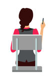 Woman Sitting on the Chair and Pointing by Pen. Woman sitting on the chair and pointing on something by pen. Back view. Women at work. Endless work seven days a Royalty Free Stock Photography