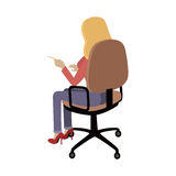 Woman Sitting on Chair and Pointing on Something. Woman sitting on the chair and pointing on something by finger. Back view. Women at work. Endless work seven Royalty Free Stock Photos