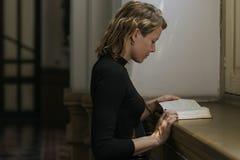 Woman Sitting Church Religion Concept royalty free stock photos