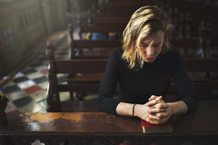 Woman Sitting Church Religion Concept Stock Images