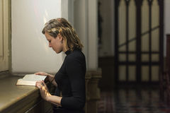 Woman Sitting Church Religion Concept Stock Photography