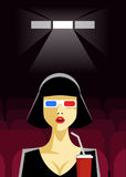 Woman Sitting in the Cinema and Watching a Movie. Colorful Vector Illustration. Stock Photos