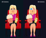 Woman sitting in the cinema and watching a movie, 2D and 3D cine Royalty Free Stock Photography
