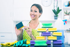 Woman sitting with cleaning sponges Royalty Free Stock Image