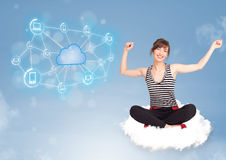 Woman sitting on cloud with cloud computing Stock Images
