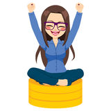 Woman Sitting Coins Royalty Free Stock Images