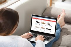 Woman Doing Online Shopping Stock Photography