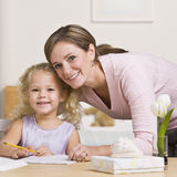 Woman Sitting with Daughter Royalty Free Stock Photos