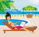 Woman sitting in deck chair and using laptop computer. Vector Illustration Stock Images