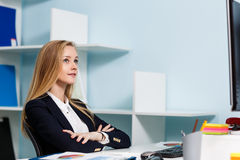 Woman sitting at the desk  with computer Stock Photos