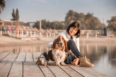 Woman sitting with dog Basset Hound by the river. Portrait of beautiful young woman playing with dog by the river. Happy woman sitting on the wooden pier with stock photos