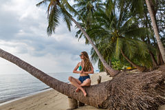 Woman sitting on a fallen palm tree Stock Photos