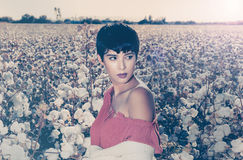 Woman sitting in a field of cotton on red desert gravel in Arizona Stock Image