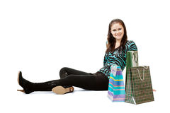 woman sitting on the floor Stock Images