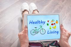 Healthy living concept on a tablet stock photos