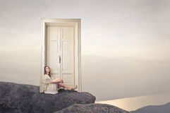 Woman sitting on the floor Royalty Free Stock Photo