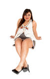 Woman sitting on floor. Stock Images