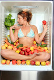 Woman sitting in a fridge Stock Photography