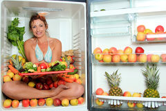 Woman sitting in a fridge Stock Image