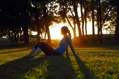 Woman sitting in the glow of the setting sun. Woman sitting alone in a green field in the glow of the setting sun shining between the trunks of a row of trees Stock Image
