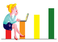 Woman sitting on the graph. Stock Image