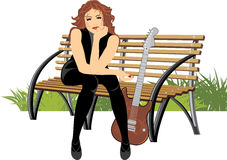 Woman sitting with guitar on the wooden bench Stock Photos