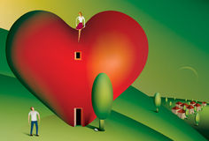 Woman sitting on a heart shaped house. Illustration of a woman sitting on a heart shaped house looking down at her partner Royalty Free Stock Image